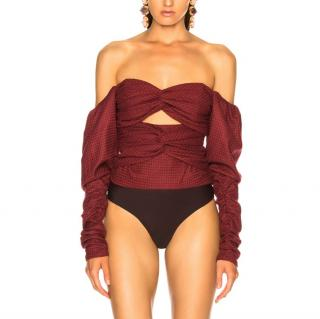 Zeynep Arcay Red Plaid Wool Bodysuit