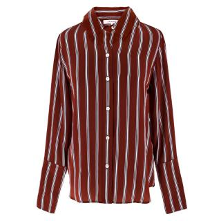 Frame Red Silk Striped Shirt