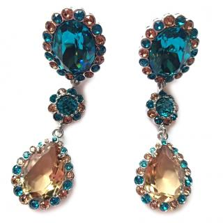 Miu Miu Swarovski Crystal Drop Clip Earrings