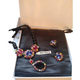 Miu Miu Black Pearl Crystal Multicoloured Jewelled Necklace Set