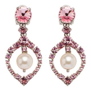 Miu Miu Pink Swarovski Crystal Pearl Clip Earrings