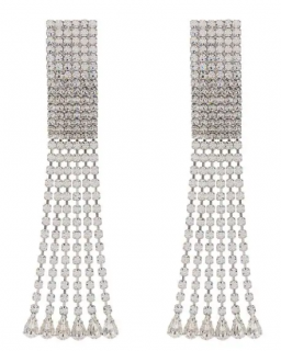 Alessandra Rich Crystal Long Clip Earrings