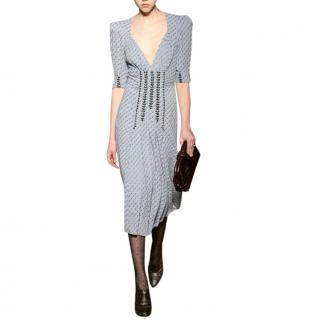Bottega Veneta Graphic Print Stud Embellished Silk-blend Dress