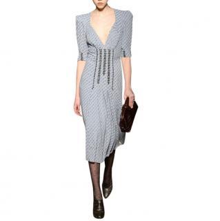 Bottega Veneta Graphic Print Stud Embellished Silk-blend Dress