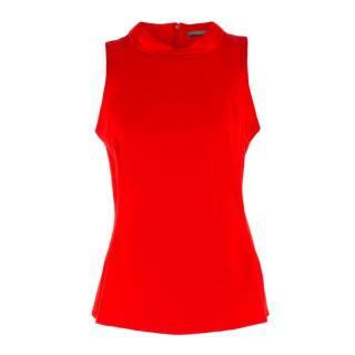Alexander McQueen Red Silk-blend Sleeveless Top