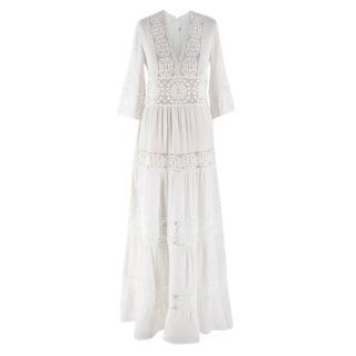 Vilshenko Ivory Crochet Floral Dress