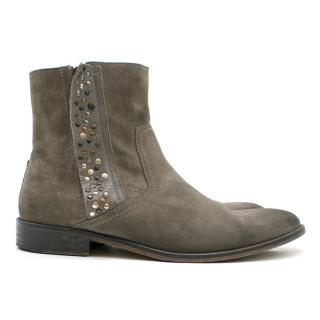 Zadig & Voltaire Grey Suede Studded Ankle Boots