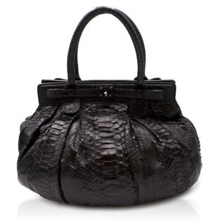 Zagliani Black Python Handbag