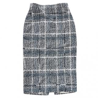 Alessandra Rich blue metallic tweed midi skirt