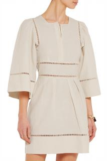 Isabel Marant Reone Pointelle-Trimmed Linen-blend Smock Dress