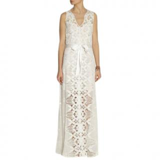 Miguelina White Eve Crocheted-Lace Maxi Dress