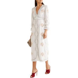Vilshenko White Embroidered Maxi Dress
