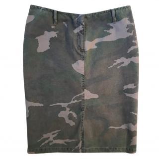 Joseph camouflage khaki & brown knee length skirt