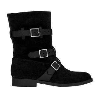 Saint Laurent black suede biker boots
