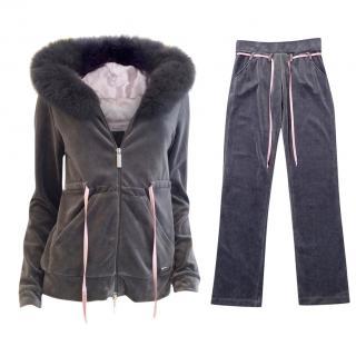 Blumarine Limited Edition Fox Fur & Velour Tracksuit