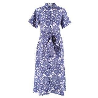 Lisa Marie Fernandez White and Blue Floral Dress