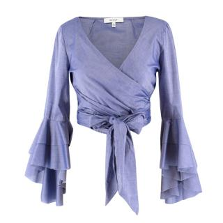 Milly Chambray Ruffled Sleeved Wrap Top