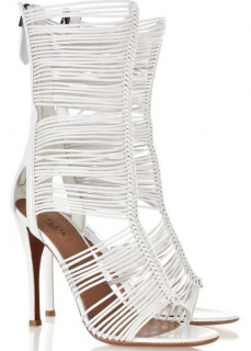 Alaia white multi-strap leather sandals