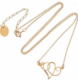 Alex Monroe 22 Carat Gold Plated Heart Scroll Necklace