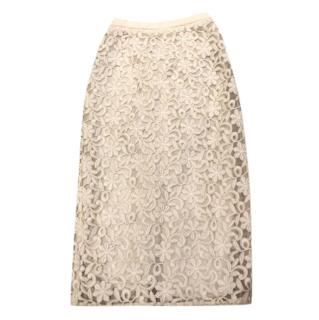 Burberry Lace Pencil Skirt