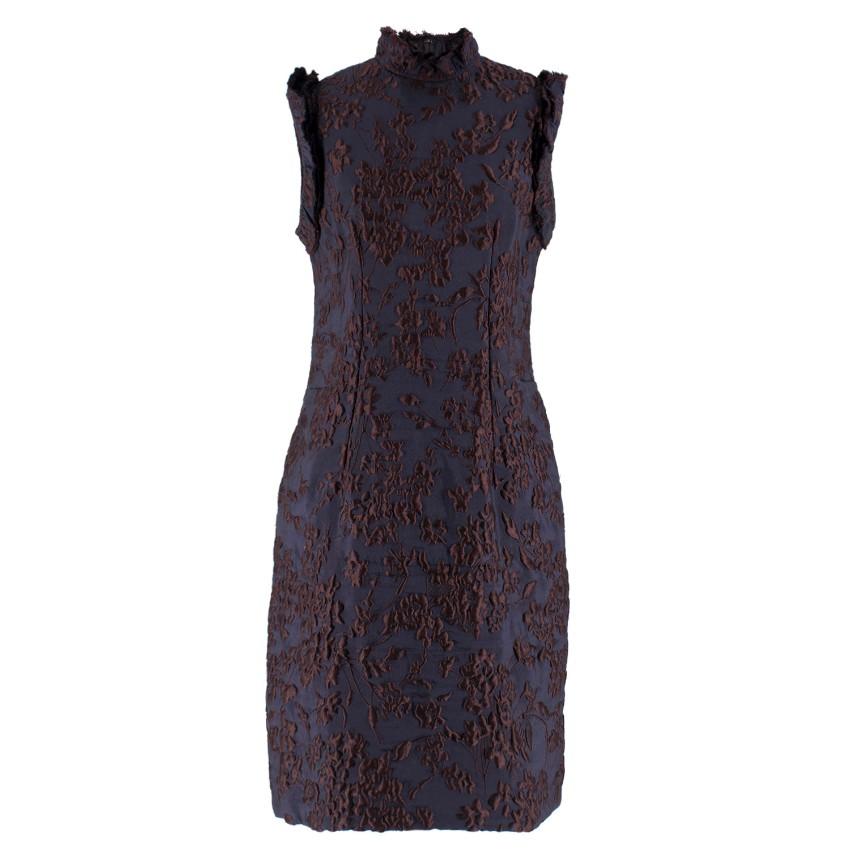 Lanvin Black and Burgundy Floral Dress