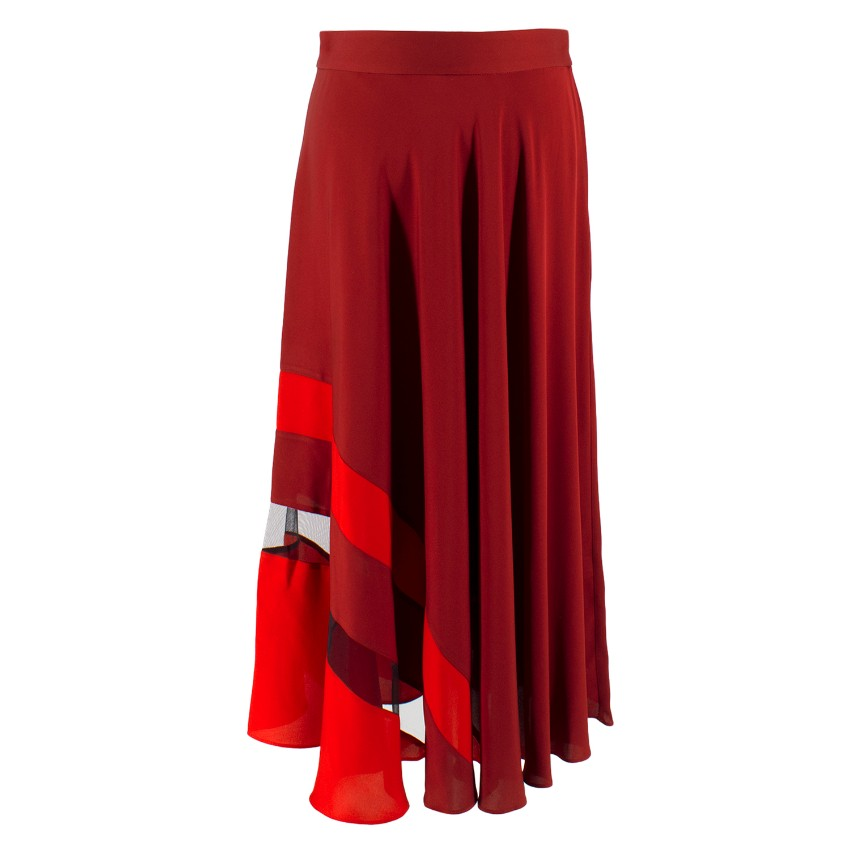 Milly Asymmetrical Stripe Stretch Silk Midi Skirt