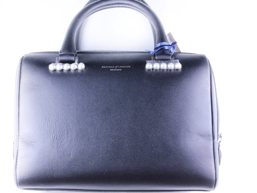 Aspinal Of London Black Leather Pearl Bag