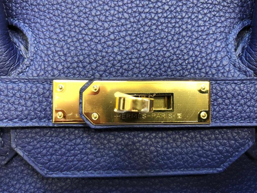 419251ce92 Hermes Bleu Encre Togo Leather 35cm Birkin Bag. 28. 12345678