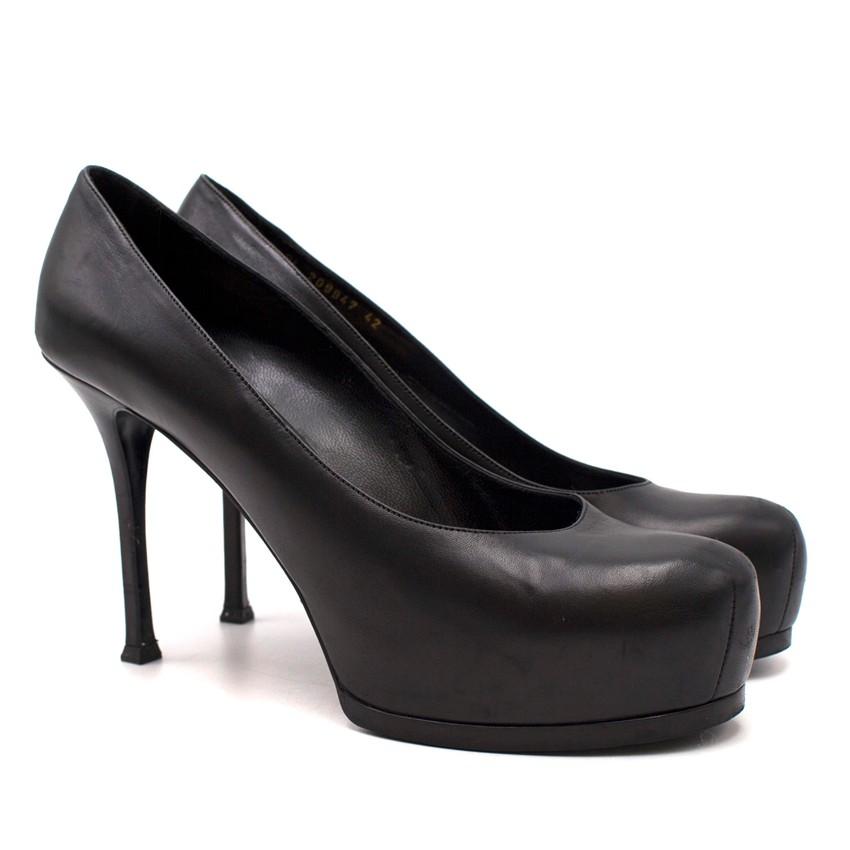 Yves Saint Laurent Black Leather Tribute Platform Pumps
