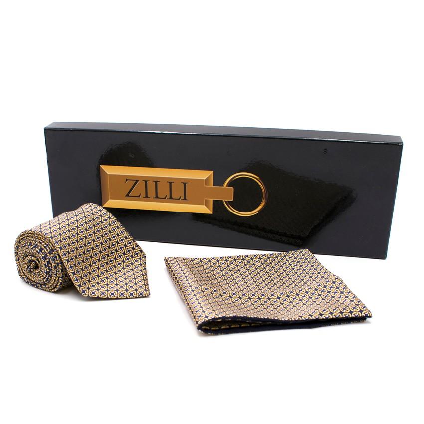 Zilli Box Silk Patterned Tie & Pocket Square