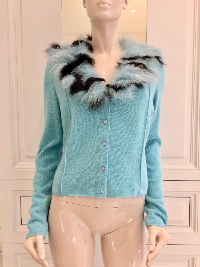6412d750fc8 Paladini Couture Blue Fox Fur Angora Cardigan   HEWI London