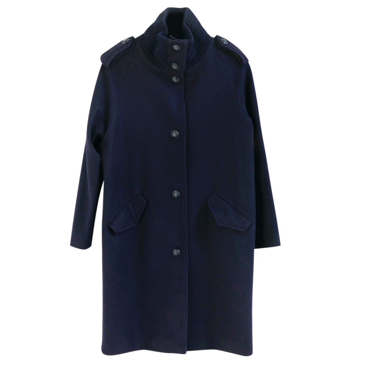 Sessun Simon Navy Heavy Wool Knit Collar Duffle Pea Coat
