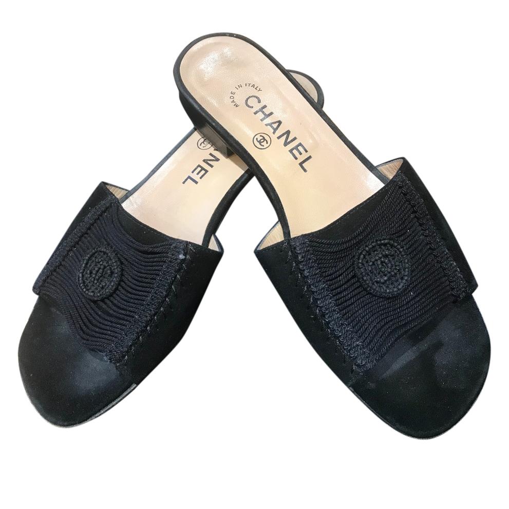 76e17ba402436 Chanel Black Suede Slides