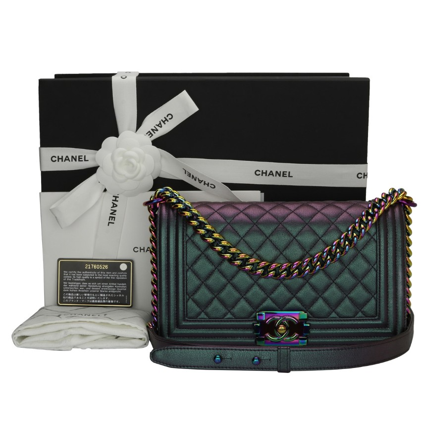 6686fe19eb7f Chanel Iridescent Purple Old Medium Quilted Boy Bag   HEWI London