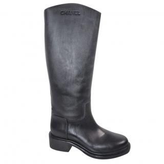 Chanel Black leather calfskin logo tall high riding boots