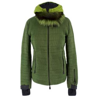 Moncler Green Fur Trimmed Ski Jacket