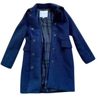 BURBERRY Girls Soft Navy Blue  Coat