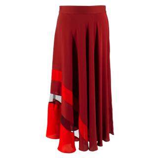 Milly Asymmetrical Stripe Stretch Silk Midi Skirt