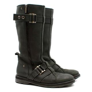 Dior Black Leather Buckle Boots