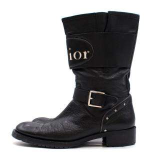 Dior Logo Leather Biker Boots
