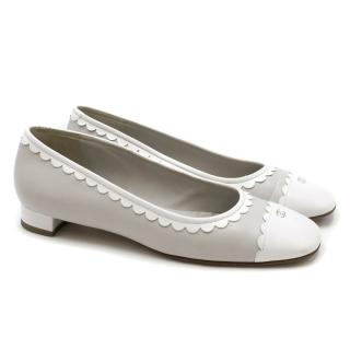 Chanel Grey Leather Scalloped Detail Ballet Flats