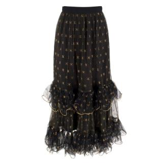 Dior Sheer Skirt with Gold Star Embroidery