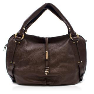 Celine Brown Leather Hobo Bag