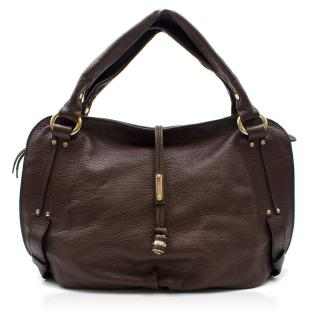 Celine Brown Leather Hobo Bag