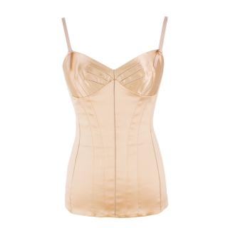 Dolce and Gabbana Gold Satin Corset