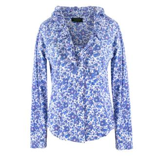 Catherine Prevost Floral Patterned Ruffle Blouse