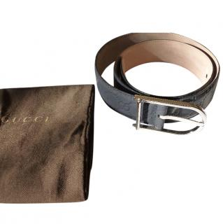 Gucci Navy Leather GG Belt