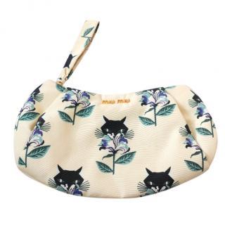 Miu Miu SS14 Kitty Cat Print Satin Clutch Bag