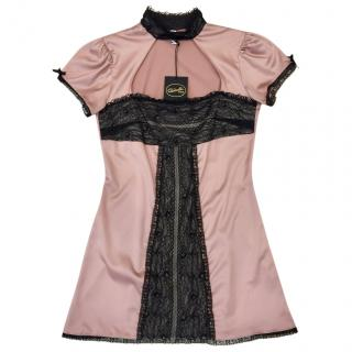 Cadolle Paris Couture Rose Satin & Chantilly Lace Mini Dress