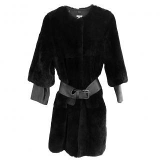 P.A.R.O.S.H. �1250 Black Rabbit Fur & Leather Coat w/Belt